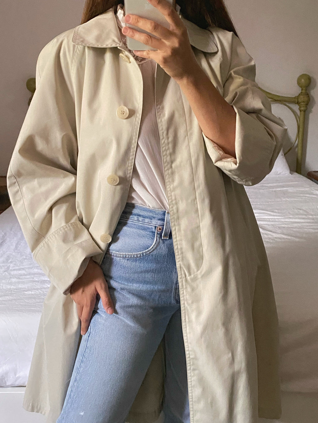 Vintage Italian classic beige trench