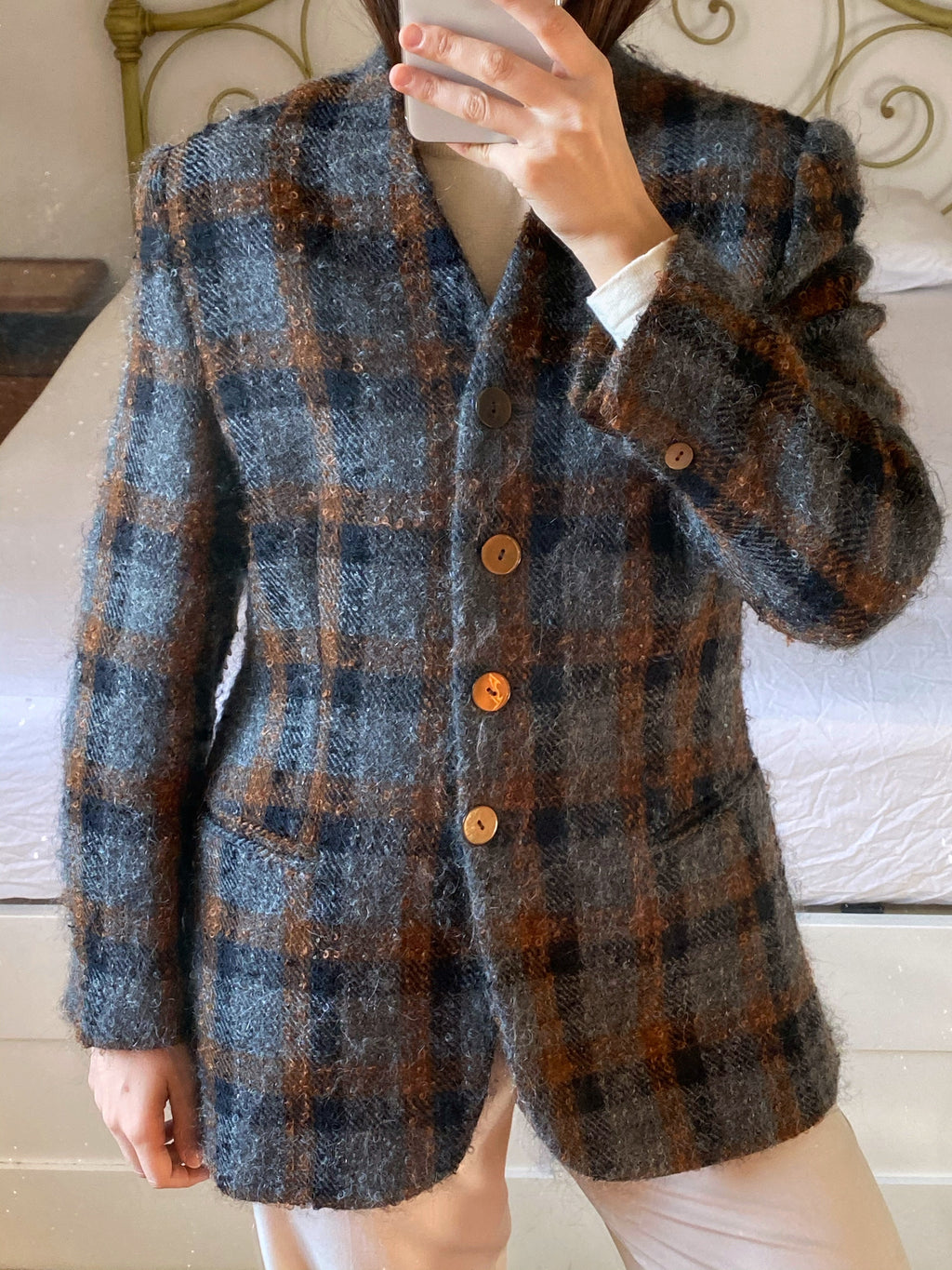 Vintage Italian wool and mohair bouclè checked blazer