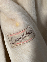 Vintage English pure mohair collar cream coat