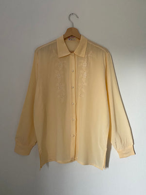 Vintage pure silk embroidered liquid blouse