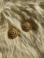 Vintage 80s goldtone rope shape round clip earrings