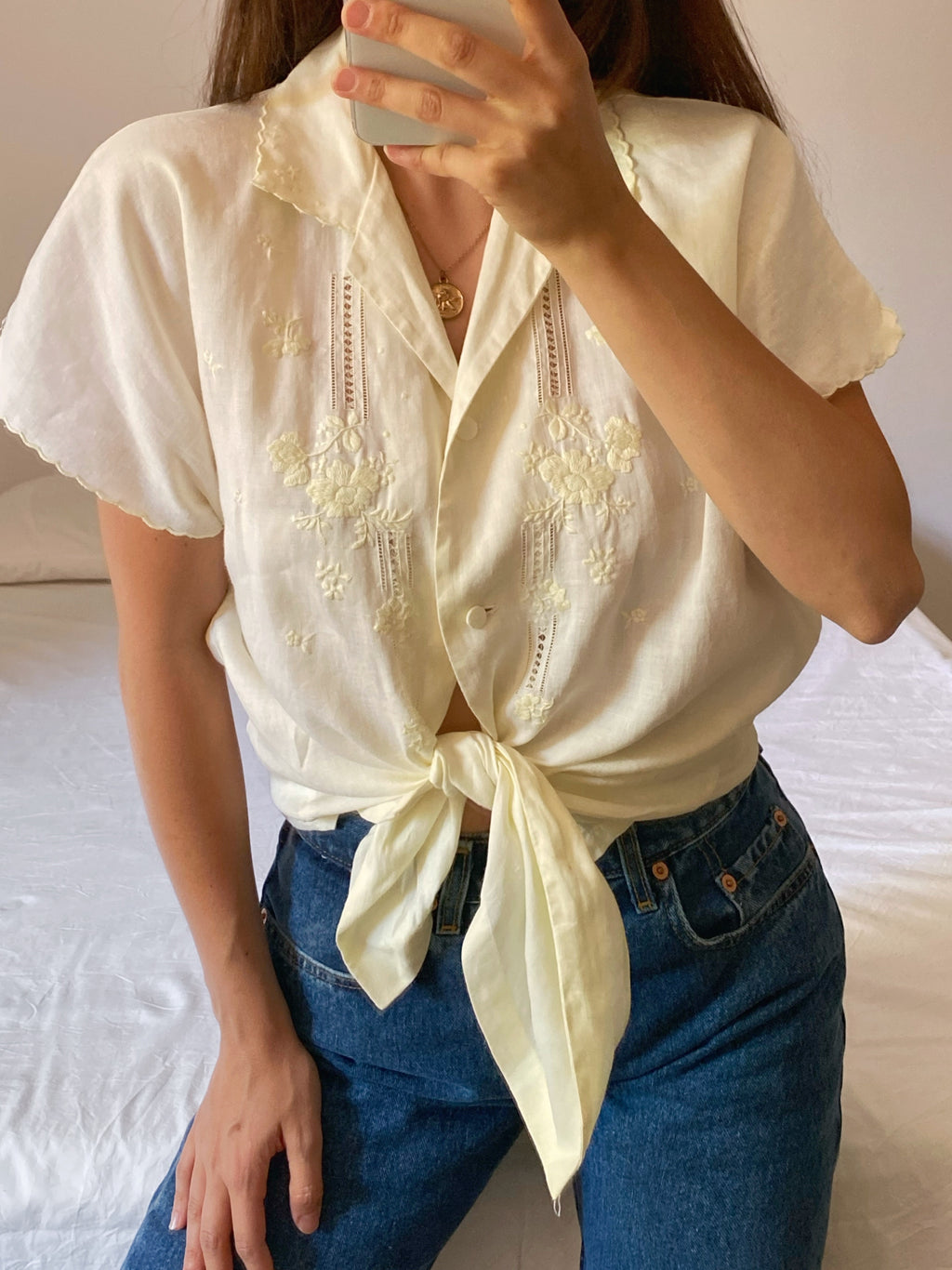 Vintage pure linen hand embroidered shirt
