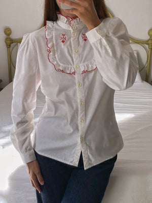 Vintage Austrian pure cotton embroidered details blouse