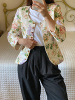 Vintage tailoring cotton and viscose blend golden buttons flowers jacket