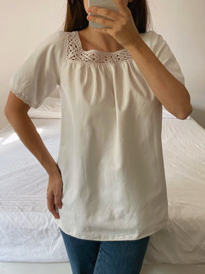 Vintage antique pure cotton handmade crochet details blouse