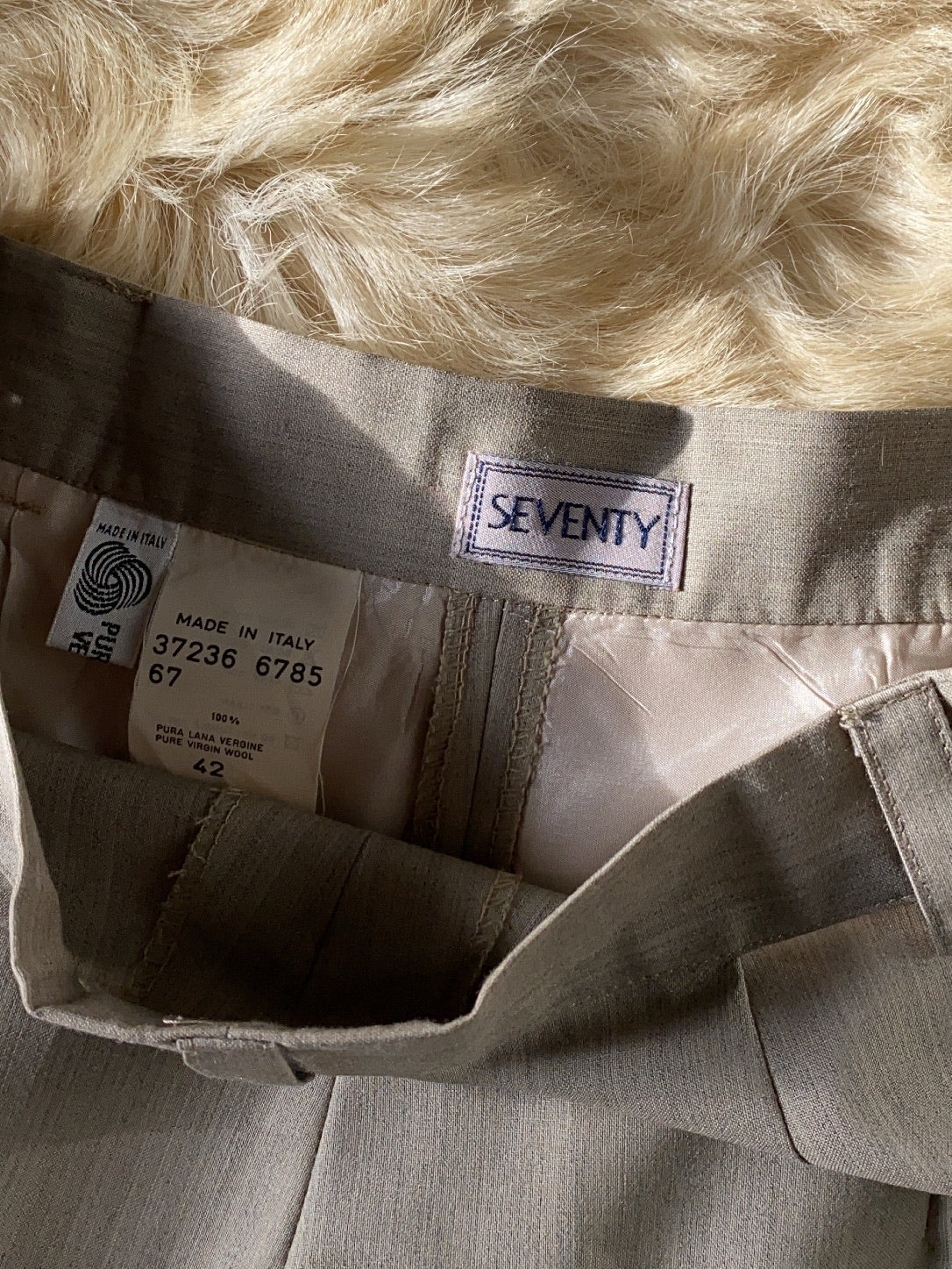 Vintage Seventy pure wool tailored greige pants