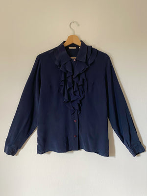 Vintage made in Italy pure silk ruffled details blue shirt