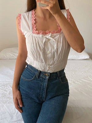 Vintage antique pure cotton flowers details sleeveless top