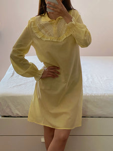 Vintage cotton embroidered details pastel yellow dress/nightgown