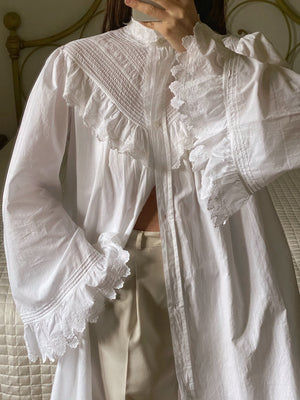 Vintage antique pure cotton lace details maxi sleeve collar buttoned dress/shirt