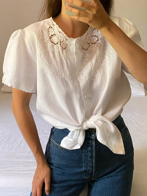 Vintage pure linen hand embroidered puff sleeve blouse