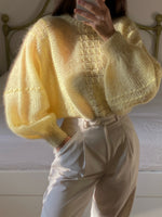 Vintage wool and mohair puff sleeve knitted pastel pull