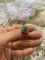 Vintage 70s Italian handmade silver 800 real green stone and zircons ring