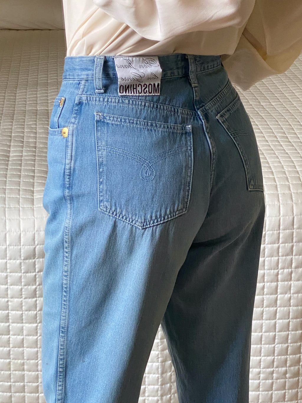 Vintage Moschino pure cotton light blue mom jeans