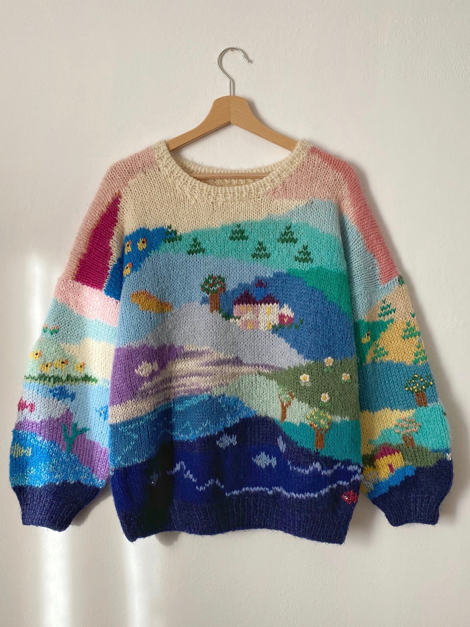 Vintage hand knitted pure wool landscape pull