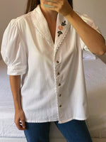 Vintage Austrian pure cotton embroidered collar puff sleeve blouse