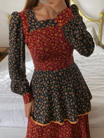 Vintage 70s puff sleeve flounced flowers dress