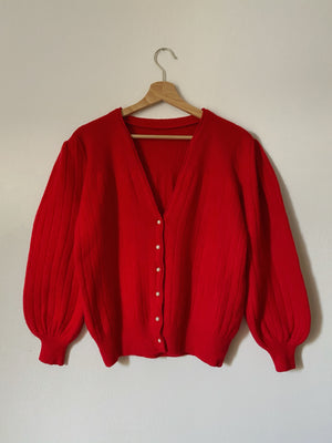 Vintage lambswool and angora puff sleeve pearl buttons red cardigan