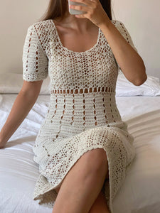 Vintage handmade pure cotton crochet short sleeve midi dress