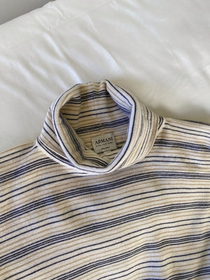Vintage Armani pure wool striped high neck pull