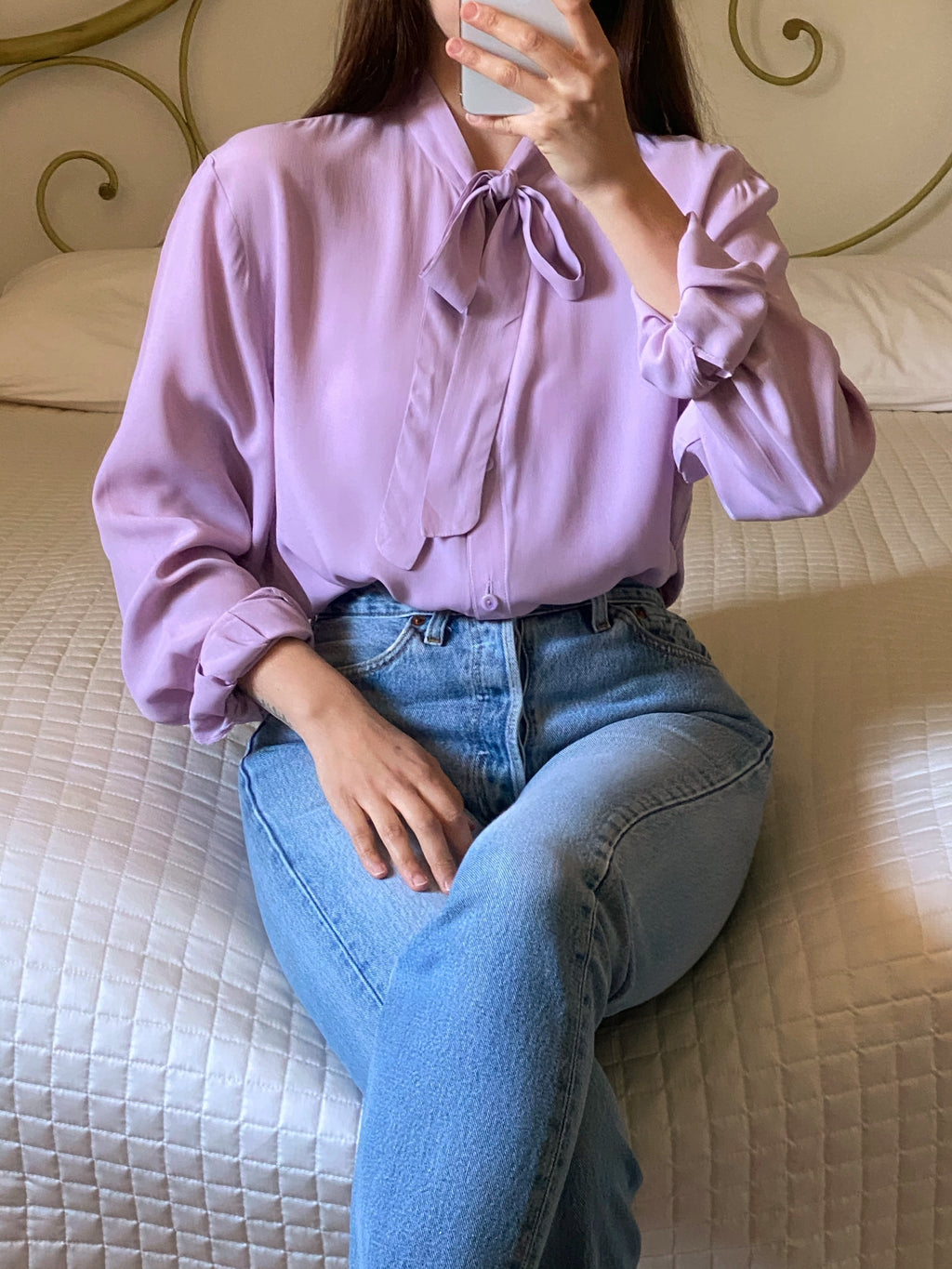 Vintage tailored pure silk ribbon details lilac shirt