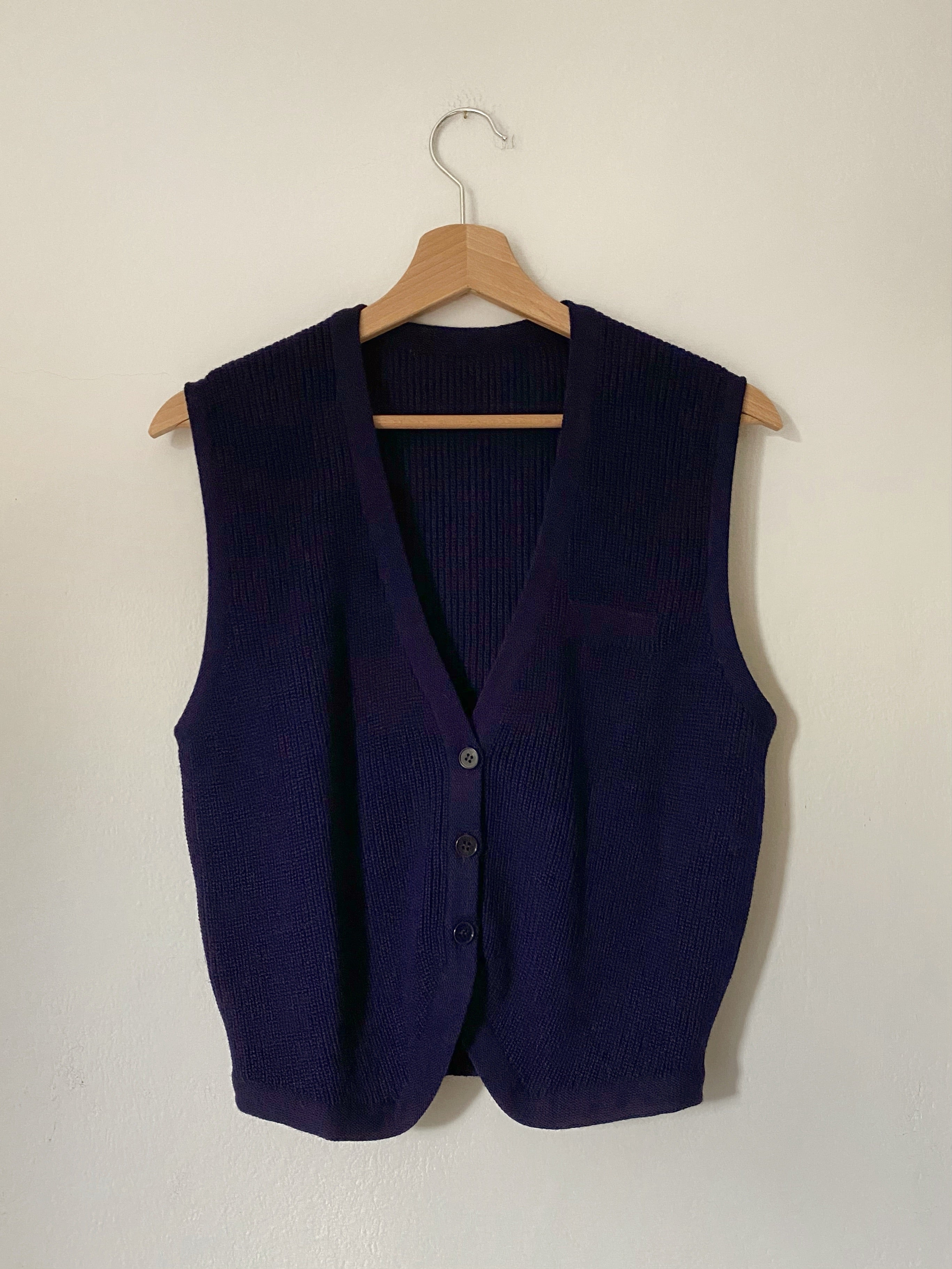 Vintage Italian wool blend buttoned blue vest