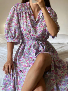 Vintage puff sleeve flowers buttoned dress