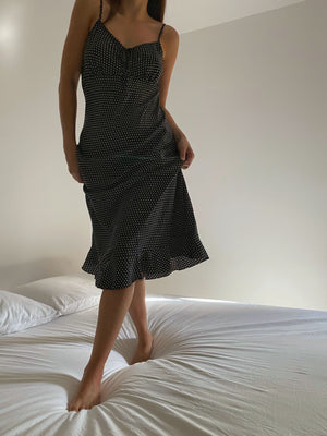 Vintage cotton blend pois slip dress with bottom flounce