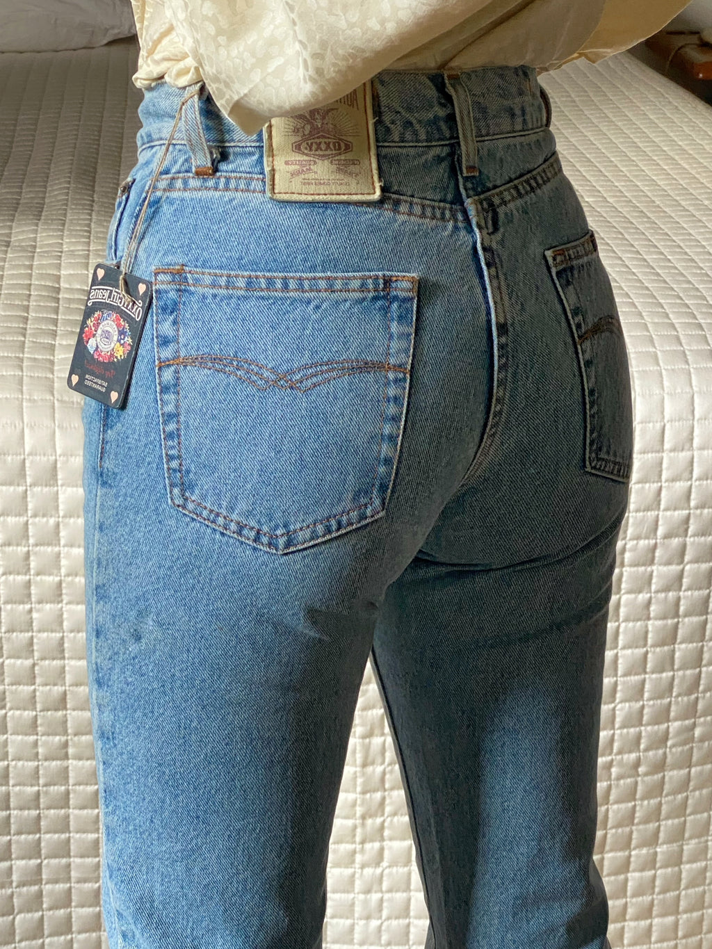 Vintage made in Italy Oxxy pure cotton light blue jeans W28