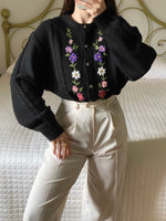 Vintage Italian wool blend embroidered puff sleeve black cardigan