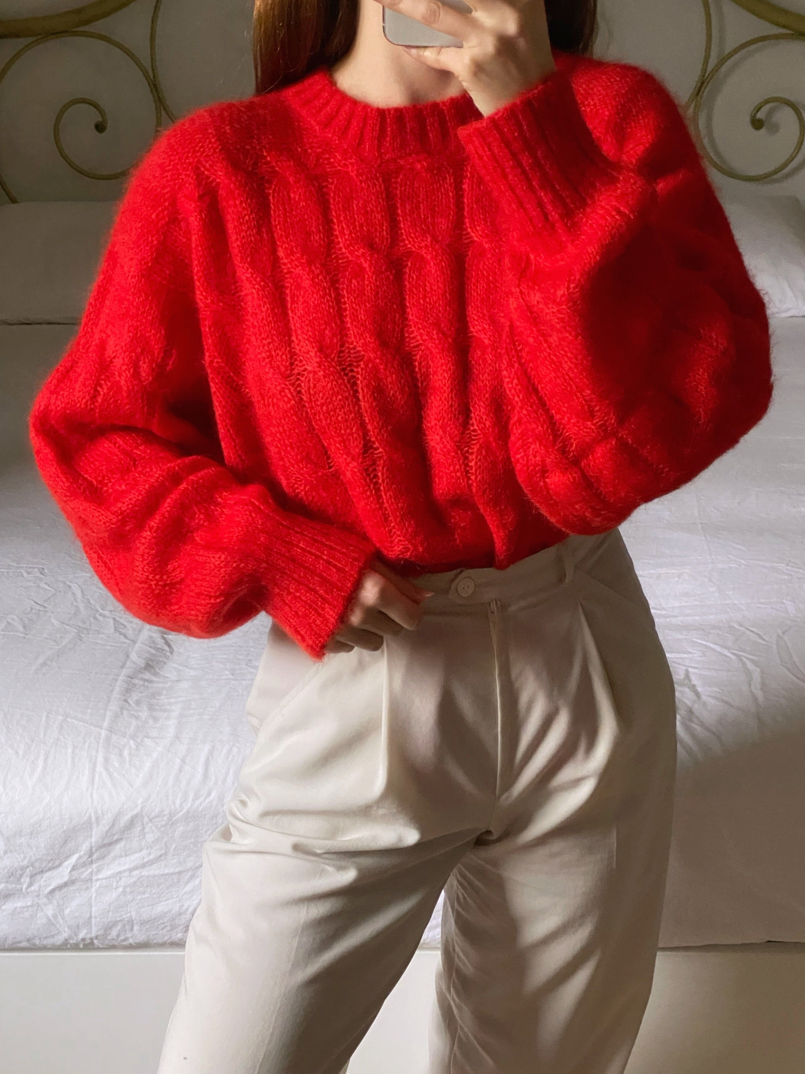 Vintage pure wool ribbed red pull