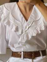 Vintage Austrian big double lace collar puff sleeve blouse