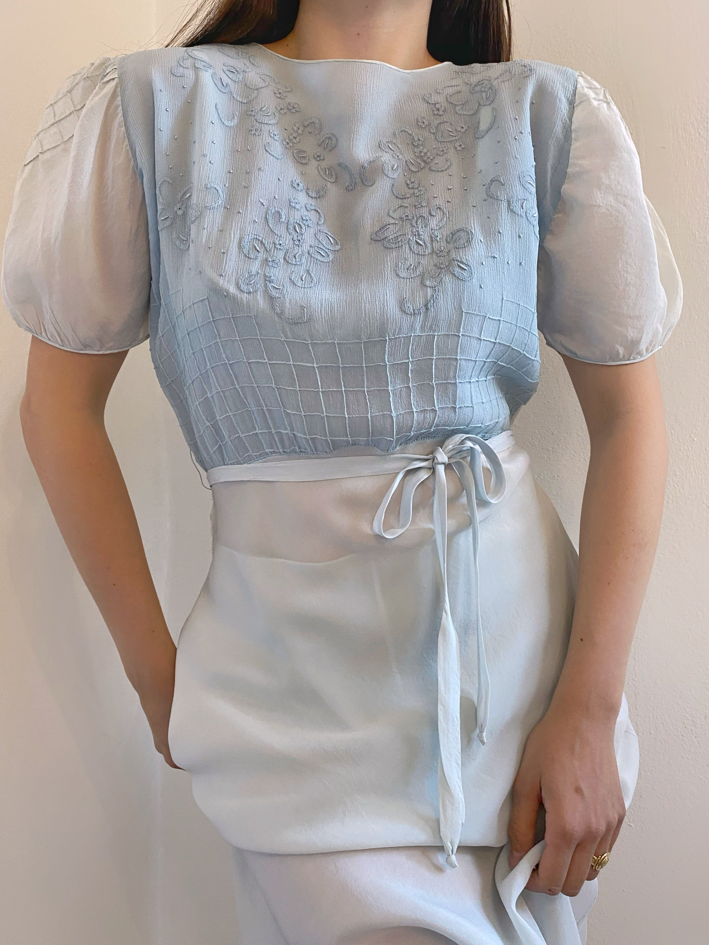 Vintage hand embroidered pure silk dress and matching shorts