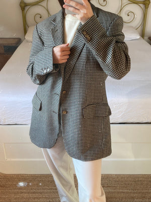 Vintage English pure wool pied de poule man blazer