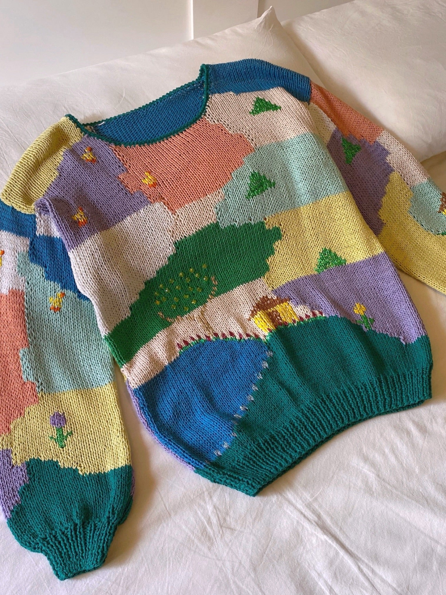 Vintage Italian hand knitted pure cotton landscape pull