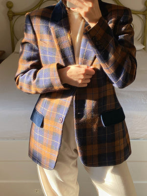 Vintage Italian pure new wool checked blazer with velvet details