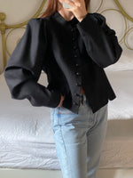 Vintage Austrian pure wool puff sleeve cardigan/jacket