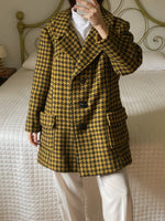 Vintage tailoring pure wool pied de poule black and mustard coat