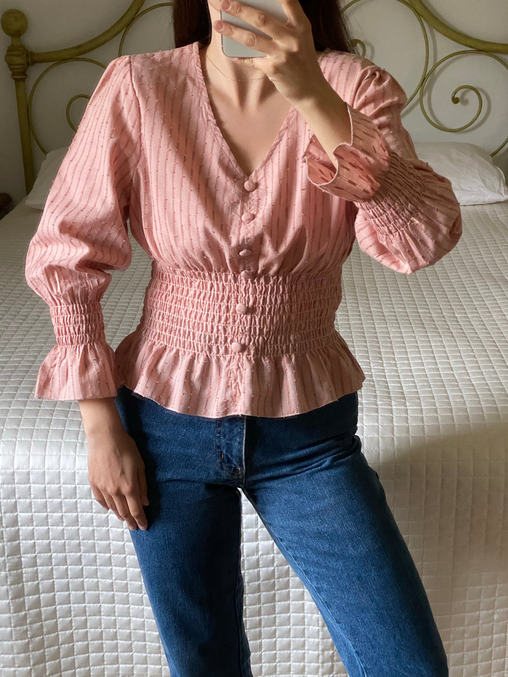 Vintage cotton and linen puff sleeve pink blouse