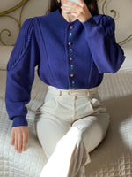 Vintage Austrian pure wool flowers applique puff sleeve blue cardigan
