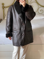 Vintage real leather shearling dark brown coat