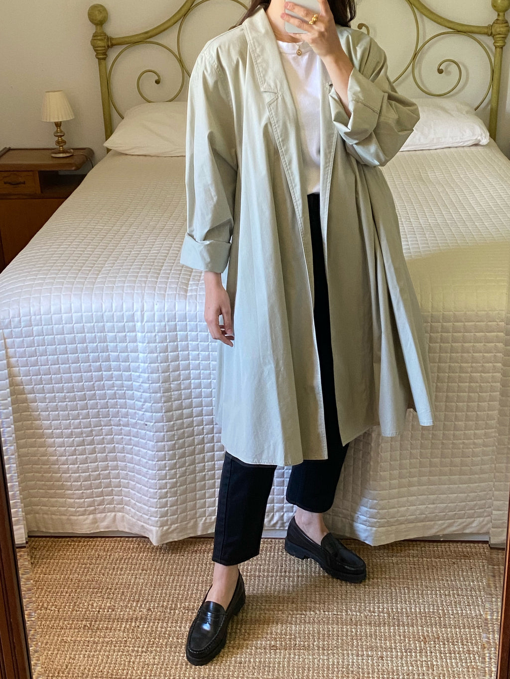 Vintage classic light green over fit trench coat