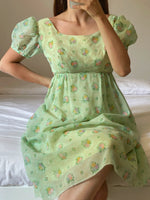 Vintage handmade puff sleeve flower dress