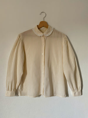 Vintage Italian cotton blend striped collar blouse
