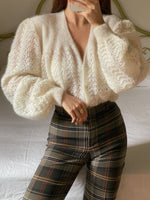Vintage wool and mohair puff sleeve knitted cardigan
