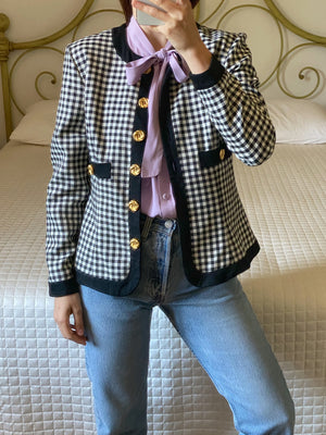 Vintage rayon blend black and white checked pockets jacket