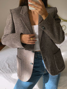 Vintage Italian pure new wool grey tweed blazer