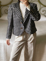 Vintage Italian wool and mohair blend black and white checked crop jacket