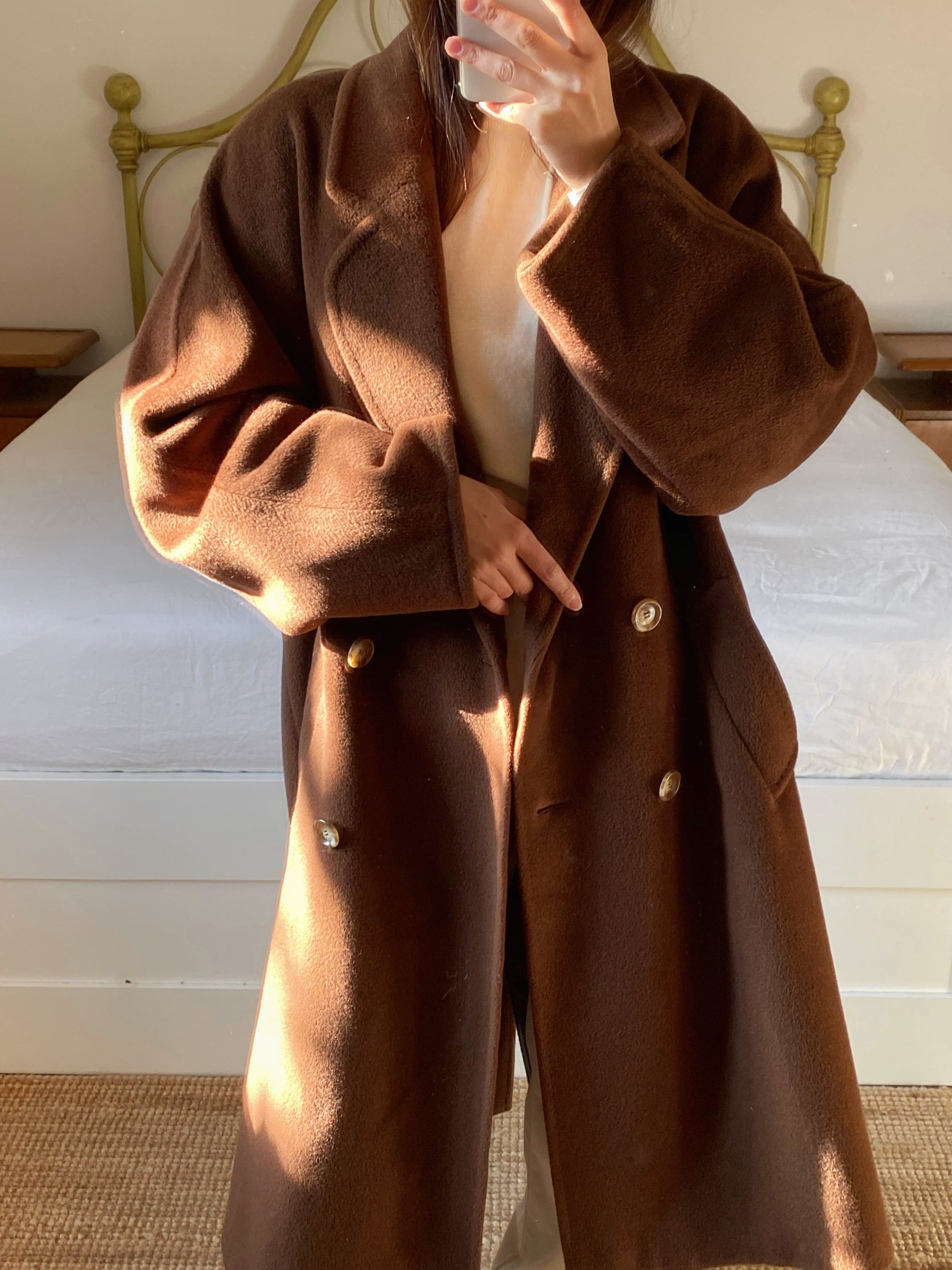 Vintage Italian pure wool double breast chocolate coat