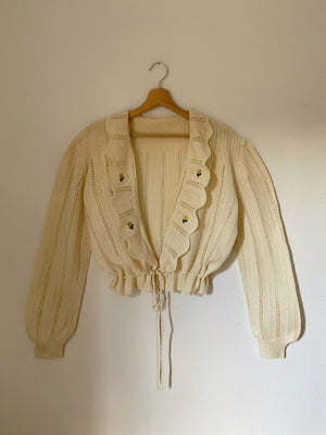 Vintage pure wool flowers applique ruffled cream cardigan
